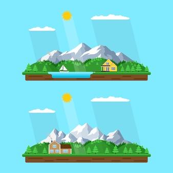 Горный летний пейзаж, иллюстрация стиля, дом в лесу с горами на заднем плане, лесное озеро, отдых в мирной деревне среди гор и деревьев