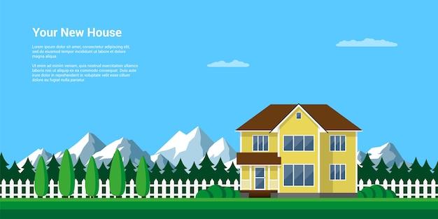 Горный летний пейзаж, иллюстрация стиля, дом в лесу с горами на заднем плане, отдых в мирной деревне среди гор и деревьев