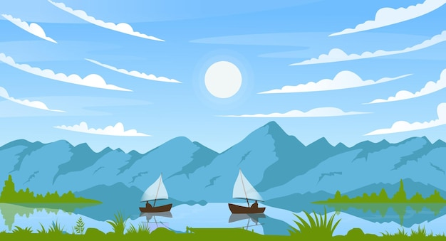 Mountain summer sunny landscape with fisherman boats on river or lake sun in blue sky