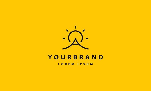 Mountain sun logo monoline simple vector design illustration