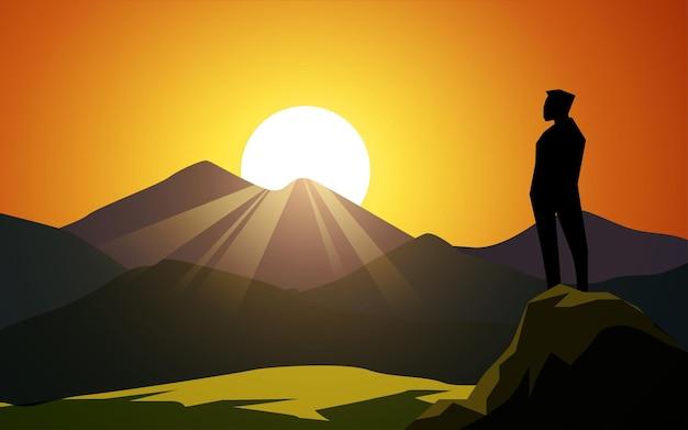 언덕에 남자와 산 일출 풍경 프리미엄 벡터