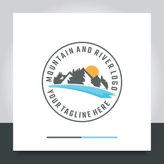 Mountain sunrise with sea logo design illustration