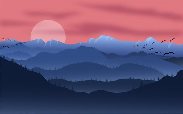 山の夕日の風景。森と山のシルエット、夕方の木のパノラマ。イラスト野生の自然の背景。