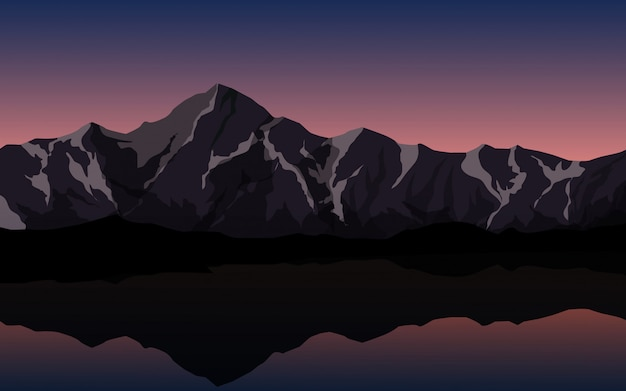 Mountain sunset view