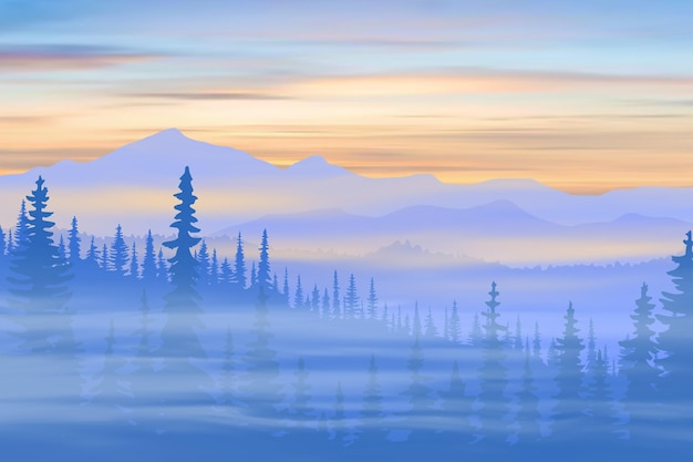 Горная тайга и вершины на рассвете
