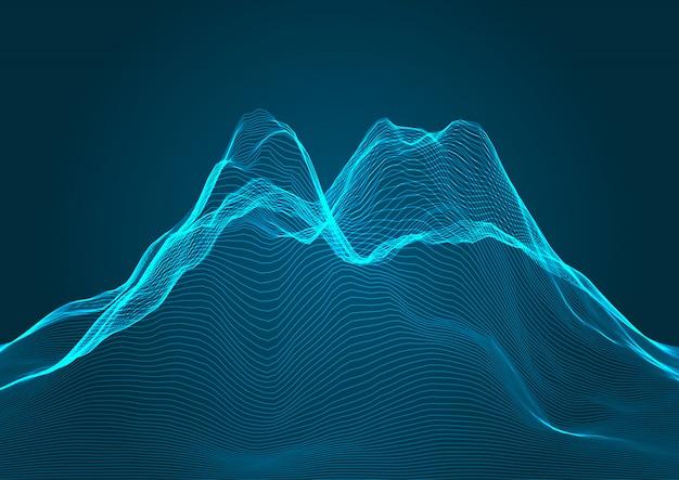 와이어 프레임 디자인의 산악 지형 배경