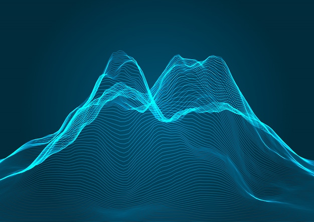 Mountain terrain background in wireframe design