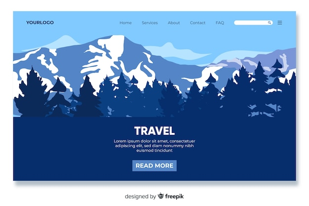 Mountain themed travel landing page