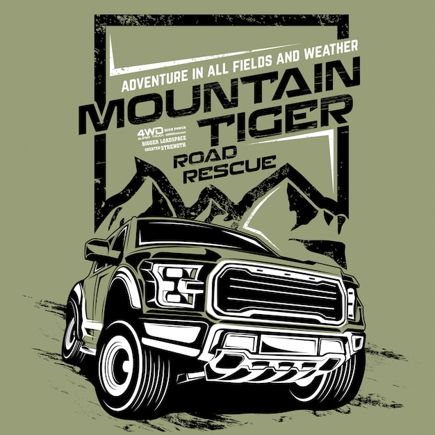 Mountain tiger road rescue, illustration of offroad adventure car