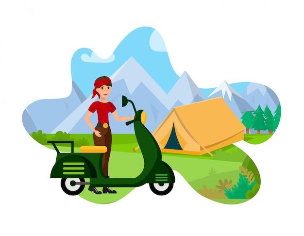 Mountain tourism flat color vector illustration