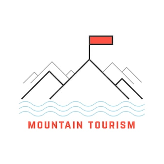 Mountain tourism icon from thin line. concept of extreme, linear template, holiday, journey, fishing. isolated on white background. flat style trend modern logotype design vector illustration