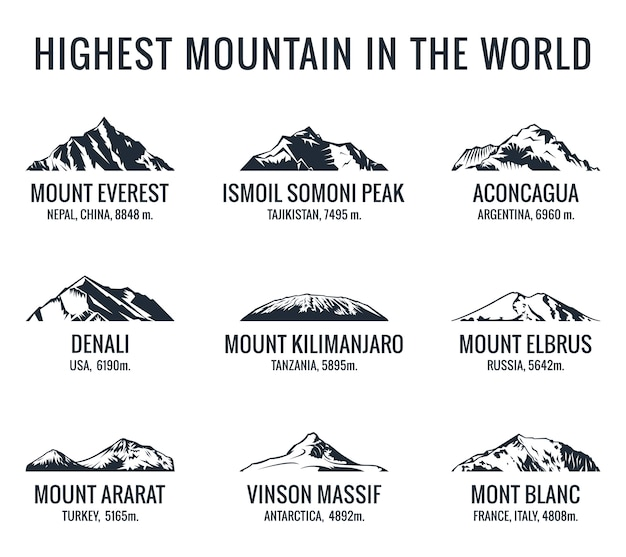 Mountain tourist logos set.