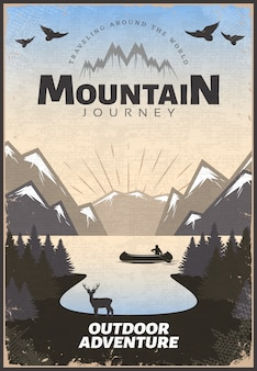 Mountain travel poster