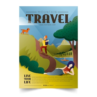 Mountain travelling poster template