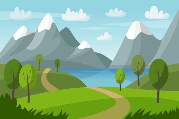 Mountain vector landscape with green hills trees lake and road