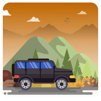 Mountain vehicle illustration scenery twilight sky background