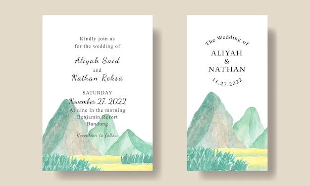 Шаблон карты свадебного приглашения фон с видом на горы редактируемый