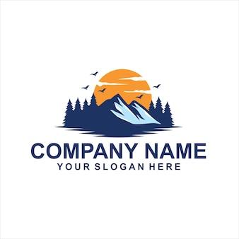 Вид на горы логотип вектор