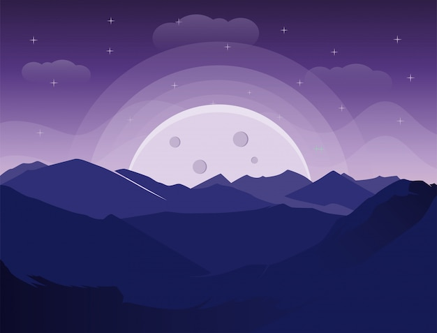 Mountain view at night with moon silhouette
