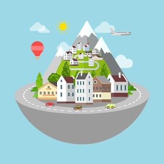 산 마을과 마을 도로 마이크로 행성 여행 개념.