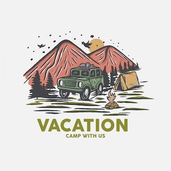 Tshirt 산 빈티지 야외 그림