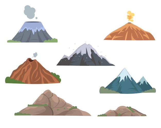 Set di illustrazioni piatte di montagne e vulcani