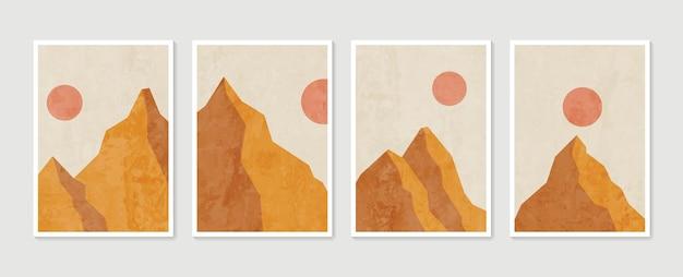 산 벽 예술 세트. 지구 음색 풍경 배경 달과 태양으로 설정합니다.