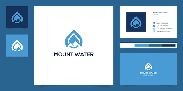 Mountain and water drop logo design combination