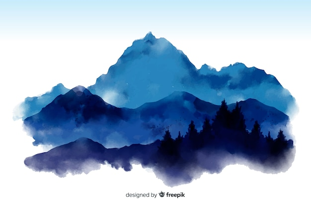 Mountain watercolor view background