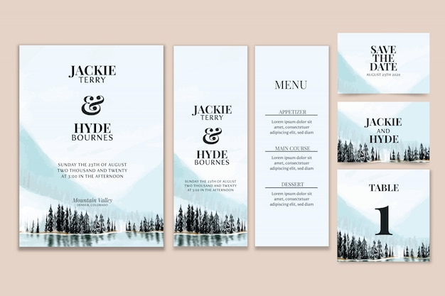 Mountain watercolor wedding stationery