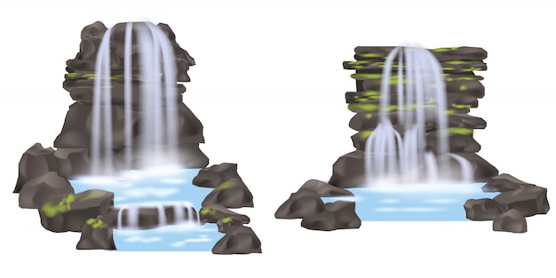 Mountain waterfall isolated set