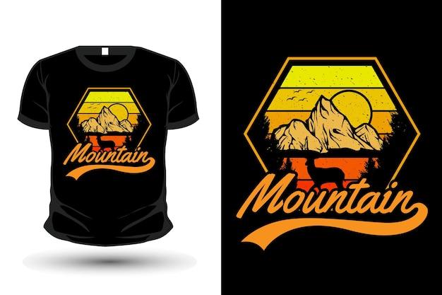 Mountain wild nature merchandise silhouette mockup t shirt design