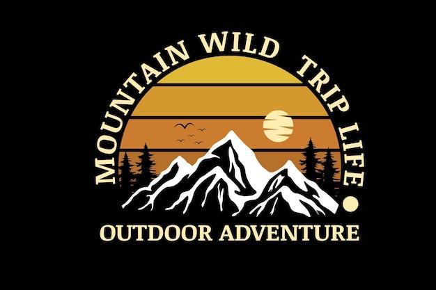 Mountain wild trip life outdoor adventure color yellow gradient