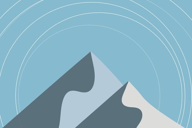 Montagna in inverno sfondo vettoriale in blu