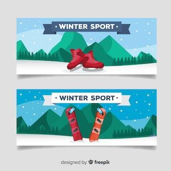 Горный зимний спортивный баннер