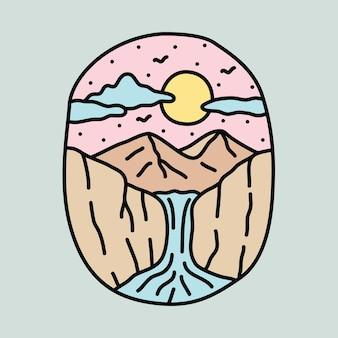 美しさの川のイラストと山