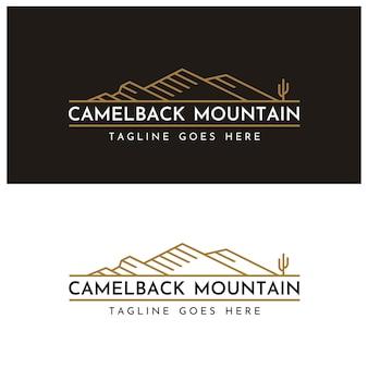 キャメルバック山の形のロゴデザインのようなサボテンと山