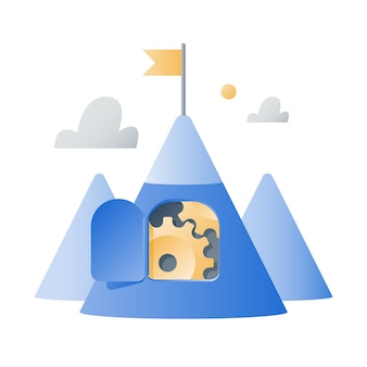 Mountain with cogwheels, success strategy, growth mindset, business challenge concept, next level, reach goal, team work, long term motivation