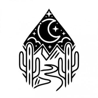 Гора с луной и наклейкой кактус