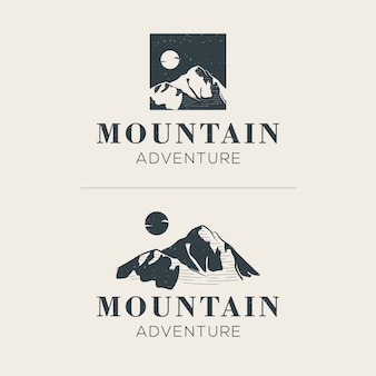 Mountain with the moon logo template
