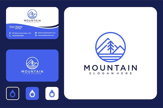 Mountain with pine line art logo design and business card