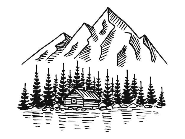 松の木とカントリーハウスの風景が白地に黒の山。スケッチスタイルで手描きの岩の峰。ベクトルイラスト。
