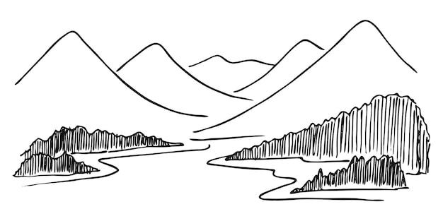 松の木と白い背景の上の黒い湖の風景と山。スケッチスタイルで手描きの岩の峰。ベクトルイラスト。