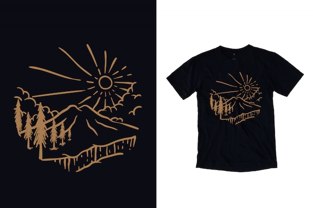 Mountain with pine trees illustration for t shirt design
