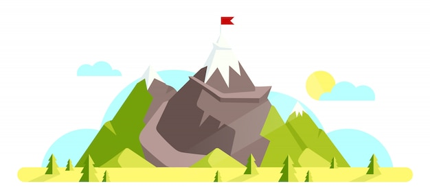 Mountain with red flag on top cartoon illustration