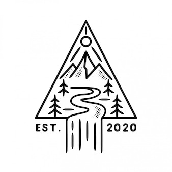 Mountain with river and sun badge