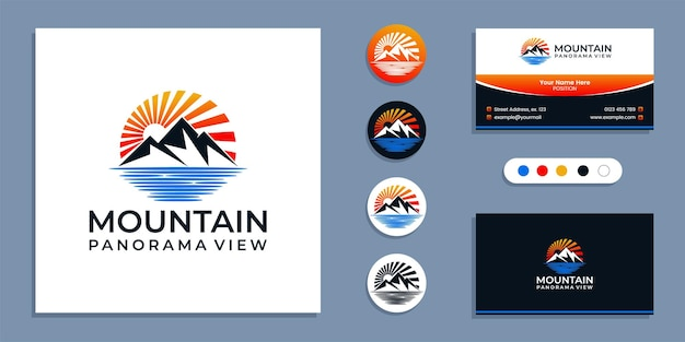 Mountain with sea, panorama of beach logo and business card design template inspiration