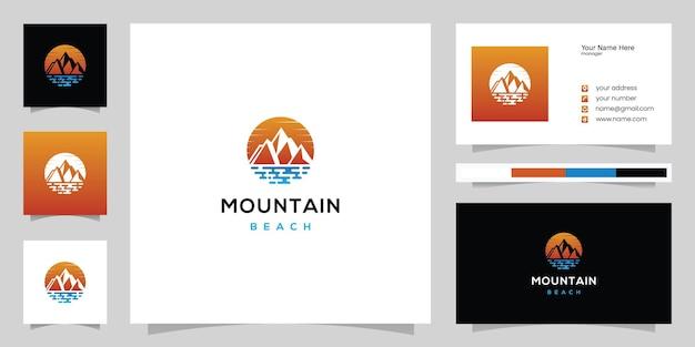 바다가 있는 산, 해변 로고의 파노라마 및 명함 디자인 템플릿 영감