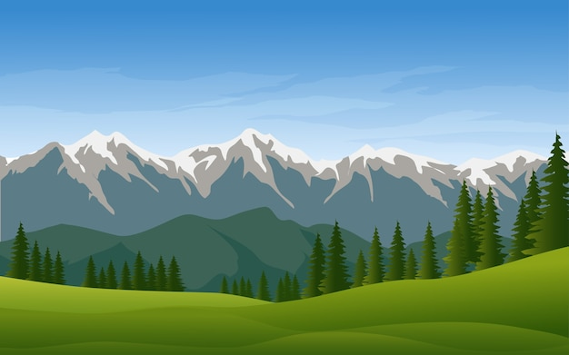 雪と松の森の風景と山