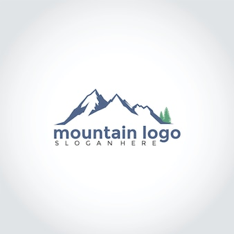 Mountain with spruce logo design